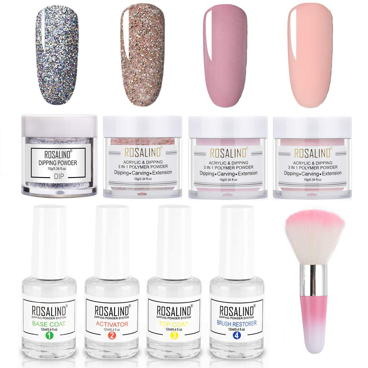 Nail Dip Powder Starter Kits 4 Colors Acrylic Nails Powders French Nail Manicure Without Uv Lamp Cured Art Design