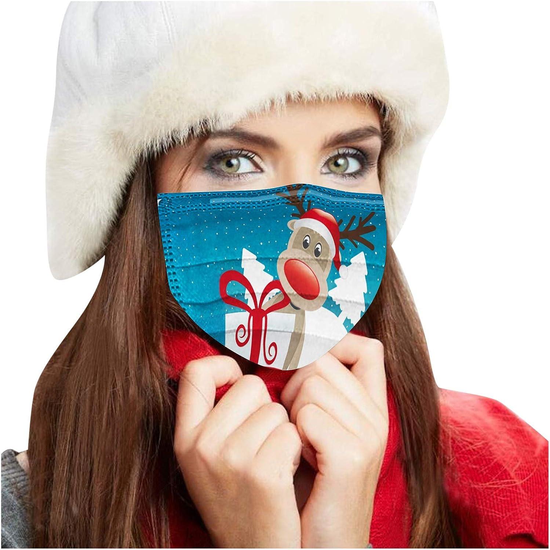 Gpure 50PC Mujer Adulto Desechable De Tejidos Meltblown De 3 Capas Renos de Navidad 5 Colores de Dibujos Bonitas Hombre Filtros de Alta Densidad 2020 Industrial Protecci/ón Tela Bufanda