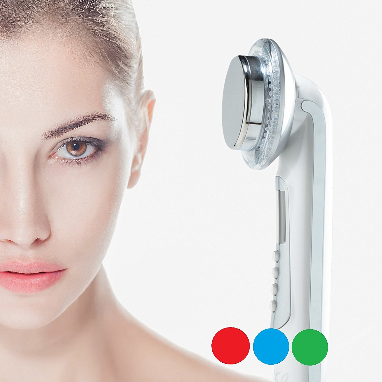 Rika LED facial massager. 3 color Photo LED light therapy Facial Massager, Light Therapy Device for Acne, Vibration Skin Firming Care