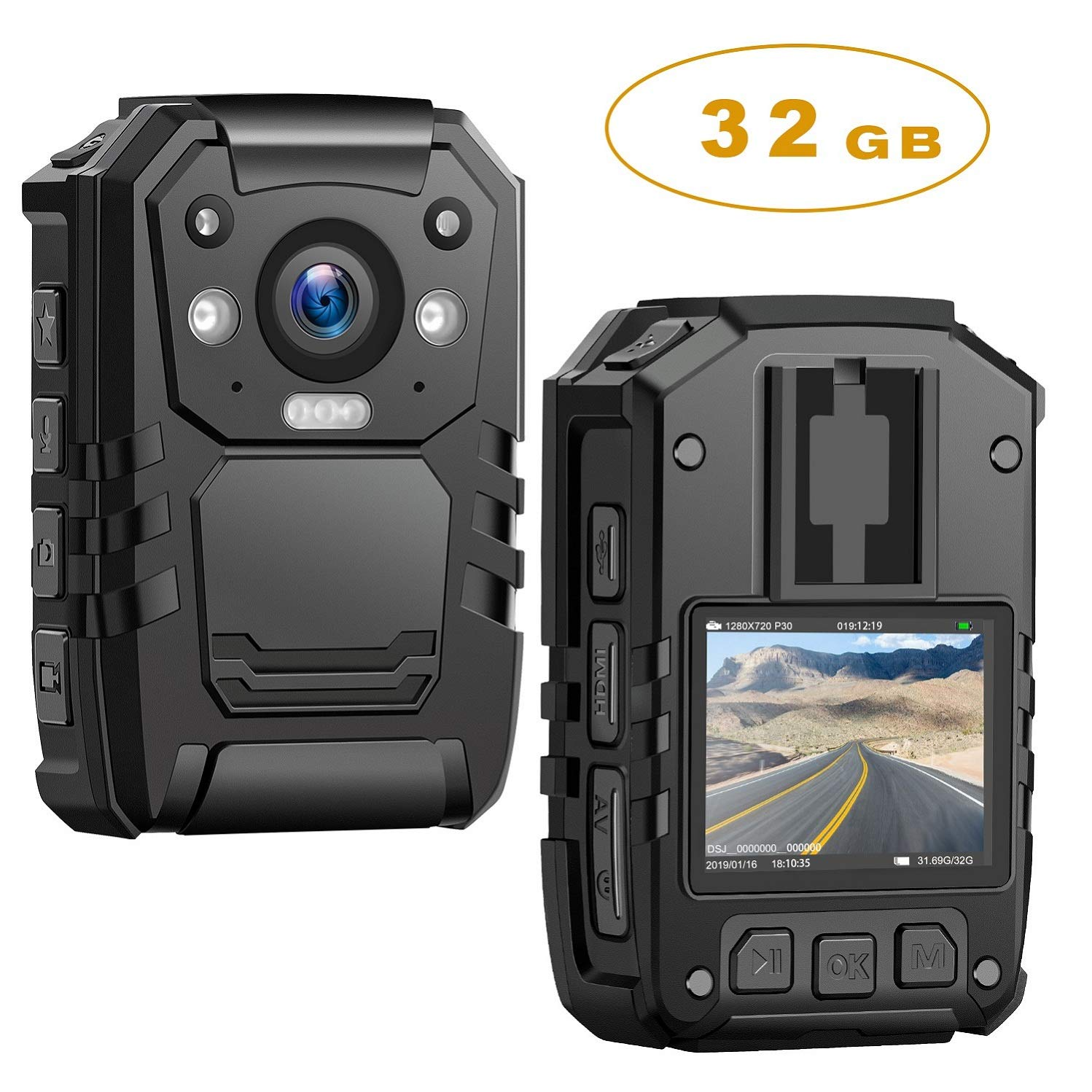 1296P HD Police Body Camera,32G Memory,CammPro Premium Portable Body Camera,Waterproof Body-Worn Camera with 2 Inch Display,Night Vision,GPS for Law Enforcement Recorder,Security Guards,Personal Use by CammPro
