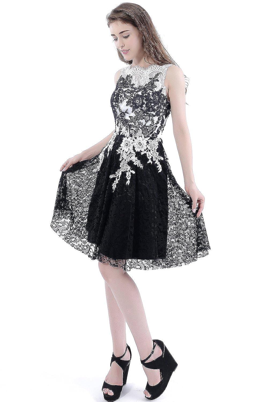 best website e688c 8f233 Babyonline-Damen Kurz Spitzenkleid Ohne-arm Abendkleid ...
