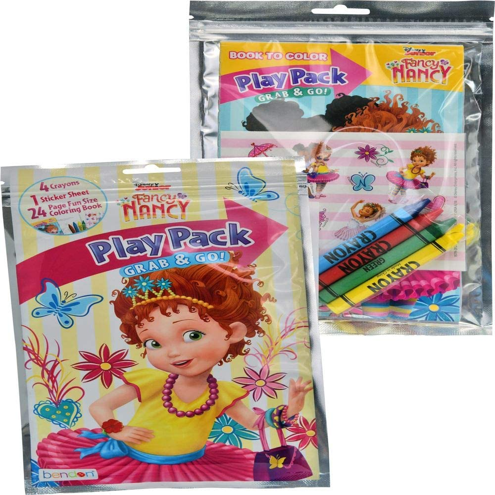 Disney Fancy Nancy Play Pack Grab & Go Fun in Resealable Bag 4 Crayons, Sticker Sheet, 24 Page Coloring Book Gift Set Party Favor for Kids Fancy Nancy Signature Collection for Girls (