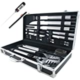 Teikis 19-Piece Stainless Steel BBQ & Grilling Tools Set with Aluminium Storage Case