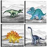 Dinosaur Bedroom Decor Wall Art Prints Gift Idea for Nursery and Kids Room Canvas Wall Art Watercolor Dinosaur Boys Room Deco