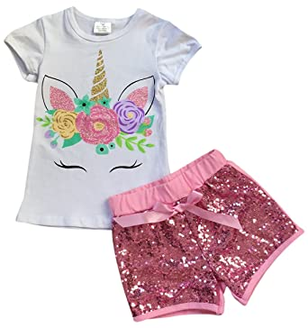 ab68baf8bbd9 Toddler Girls 2 Pieces Short Set Unicorn Floral Tops Glitter Shorts Outfit  White 2T XS (