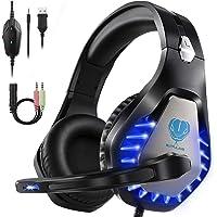 HEYSTOP Spelheadset för PS4 PC, 3,5 mm hörlurar LED Sound Professional hörlurar med mikrofon för Xbox One Nintendo…