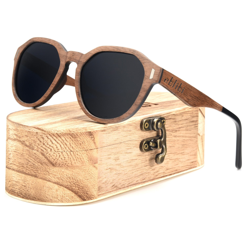 Ablibi Walnut Wooden Sunglasses Polarized Lenses Glasses Mens Driving Shades in Wood Case