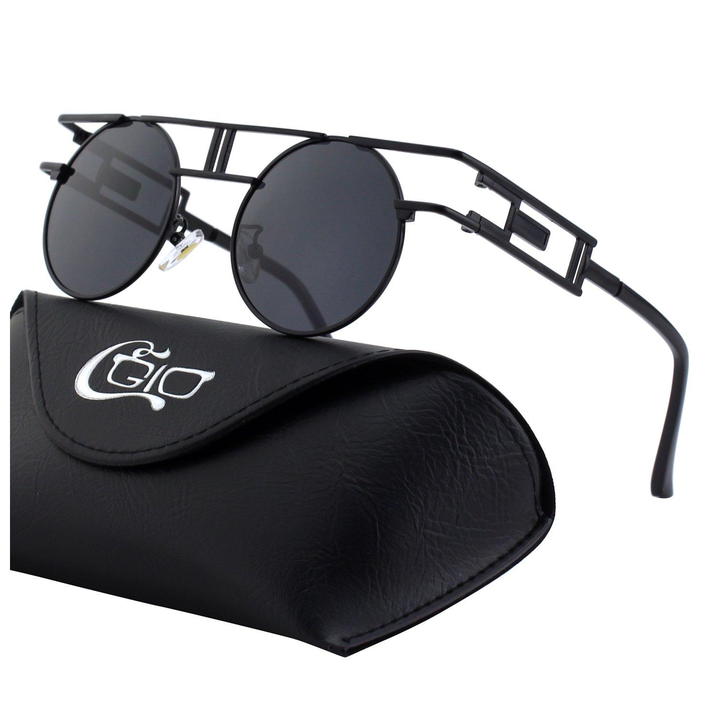 CGID E71 Steampunk estilo retro inspirado círculo metálico redondo gafas de sol polarizadas para hombres product