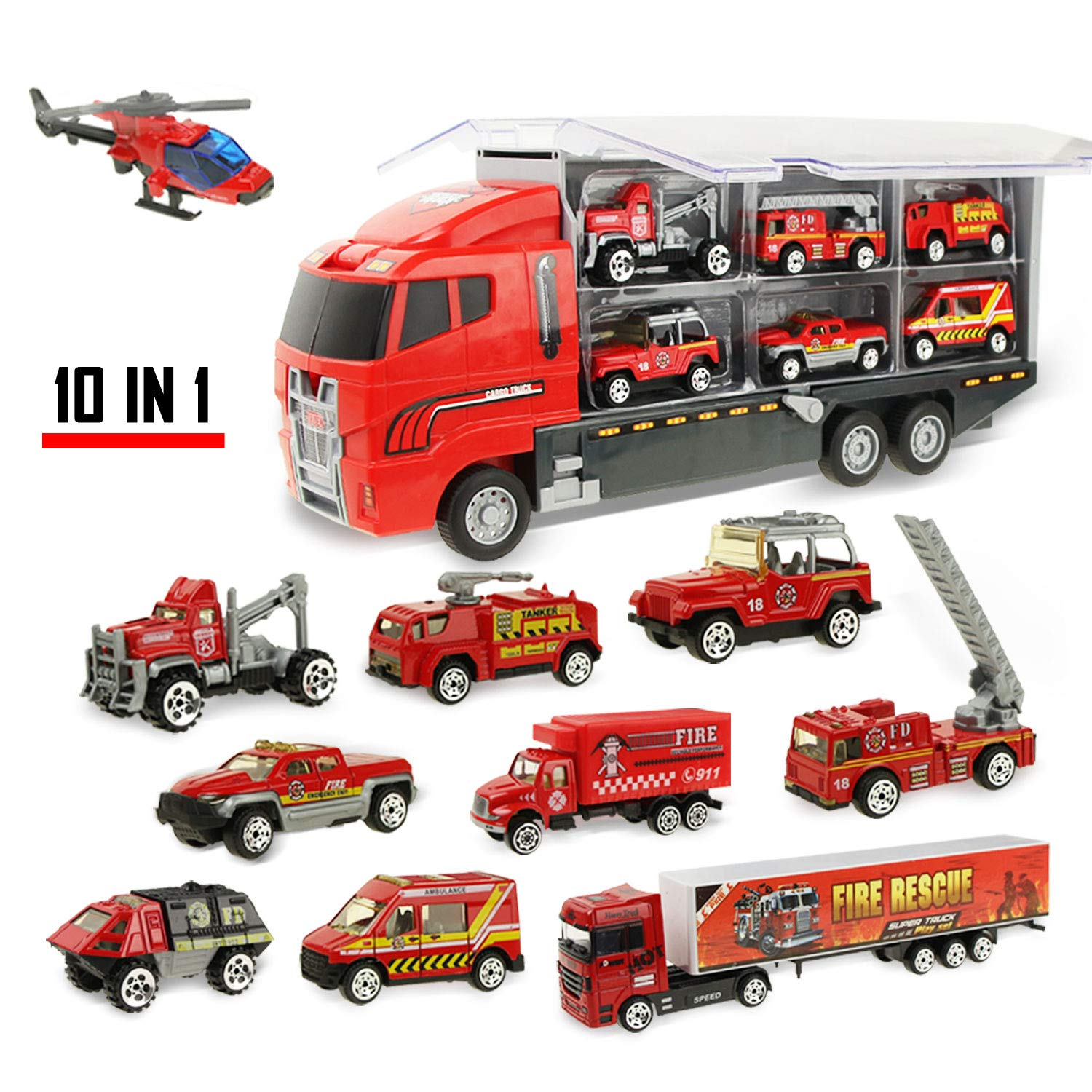 Coolplay 10 in 1 Die-cast Fire Engine Vehicle Mini Rescue Emergency Fire Truck Toy Set in Carrier Truck