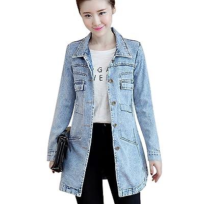 Tanming Women's Button Front Mid Long Denim Jean Jacket Coat at Women's Coats Shop