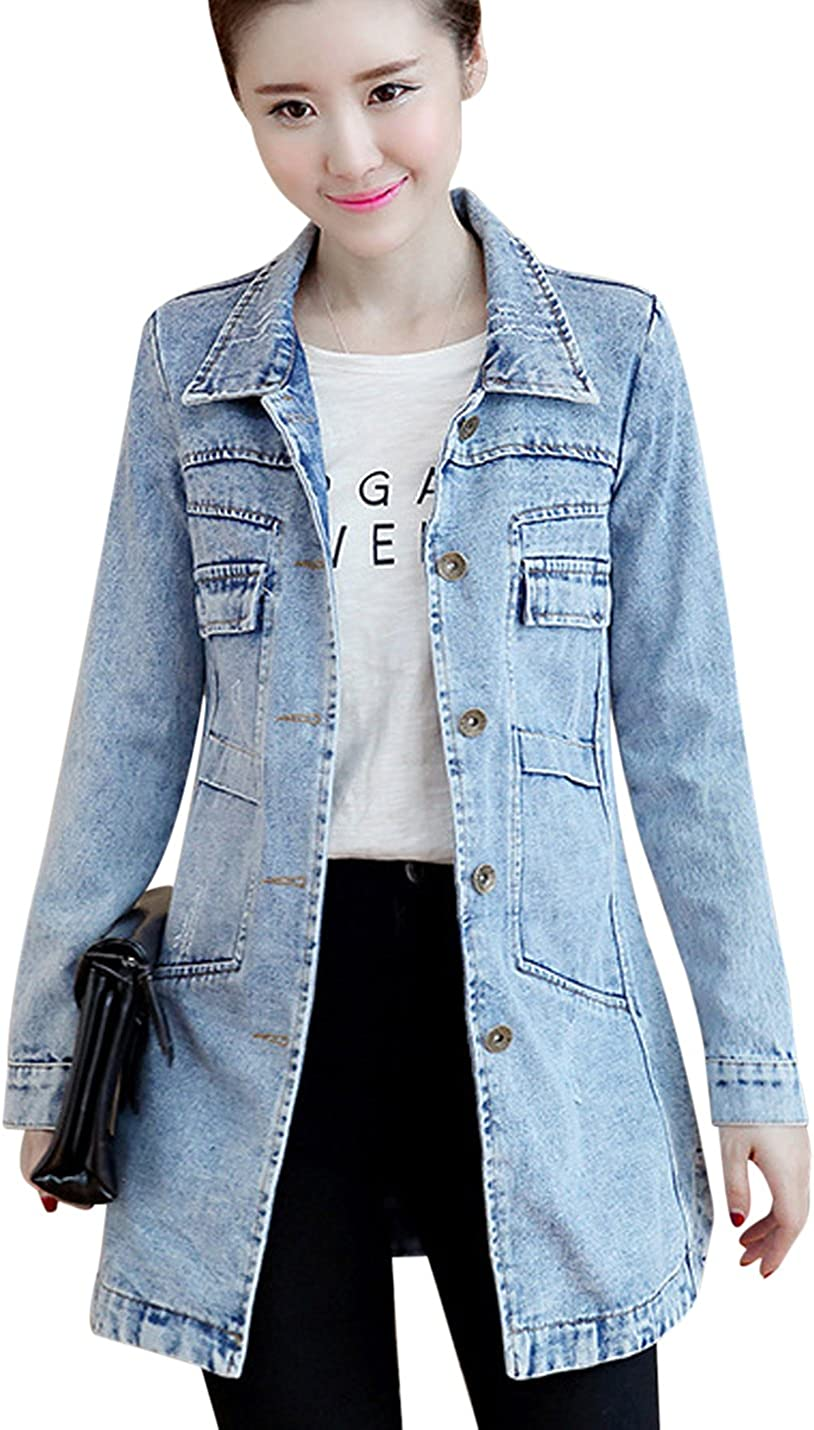Tanming Women's Button Front Mid Long Denim Jean Jacket Coat