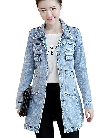f239948c7 Tanming Women's Button Front Mid Long Denim Jean Jacket Coat