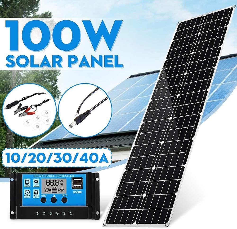 LAMP-XUE Panel Solar monocristalino Panel 100W Solar Flexible Kit de Cargador 18V, regulador Solar LED 40A PWM 10A 20A 30A para Botes de autocaravanas caravanas Sistemas aislados