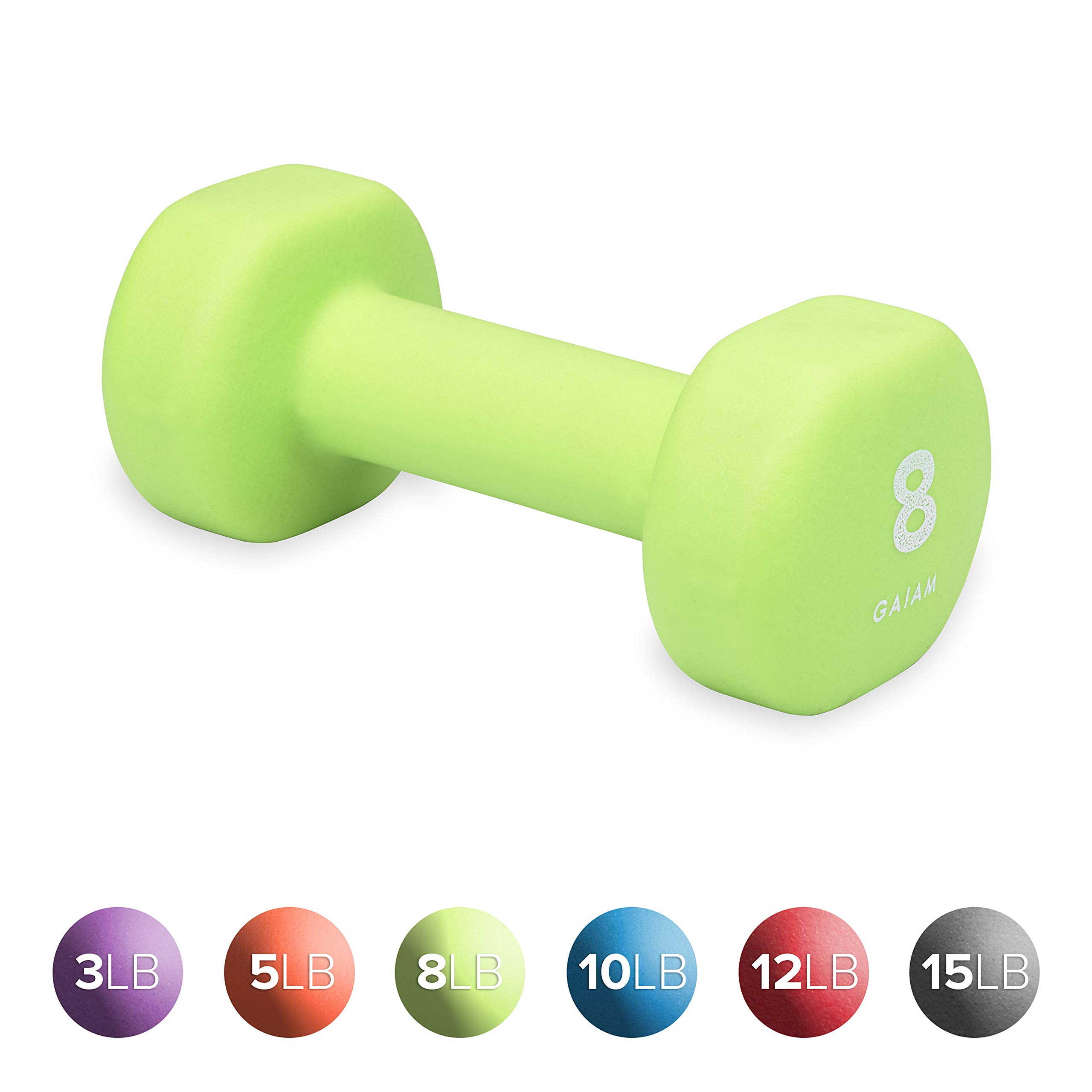Gaiam Neoprene Dumbbell Hand Weight, Green, 8 lb (Sold as Single Dumbbell)
