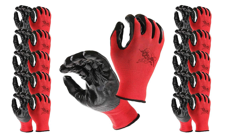 AJ Work Gloves for Men, Premium Quality, Nitrile Coated Grip, Light, Large (L), Bulk Pack (12 Pairs Pack), Black & Red For Gardening, Carpenter, Mechanic, Constructor, Heavy Duty, Warehouse, Farm,Yard