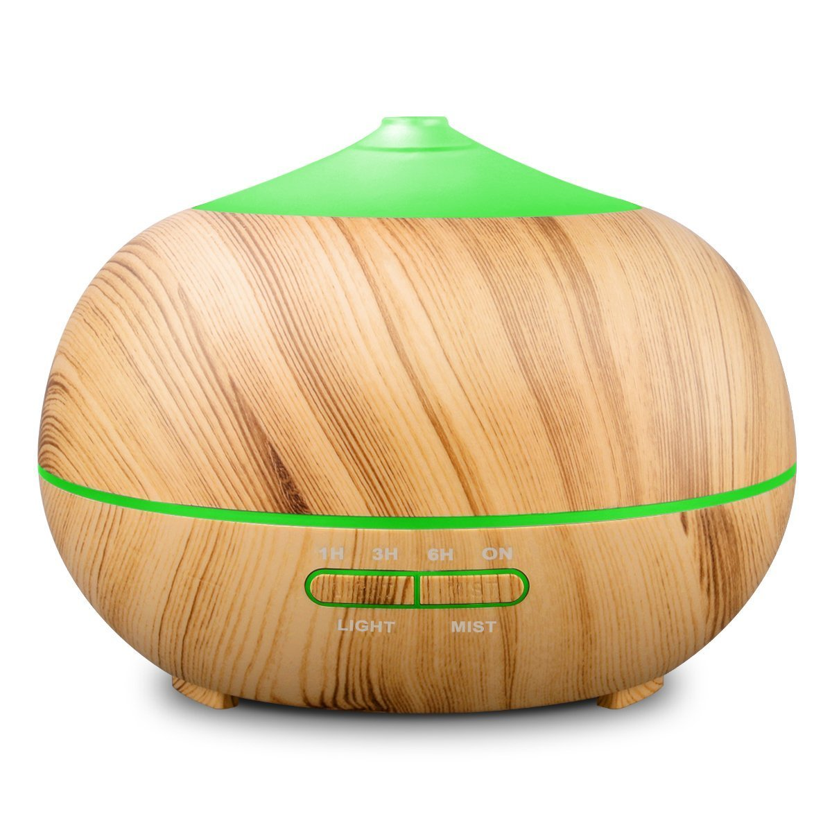 Tenswall 400ml Ultrasonic Aromatherapy Essential Oil Diffuser, Cool Mist Humidifier Whisper Quiet Operation - Yellow Wood Grain-Changing LED Light & Auto Shut-Off Function 4 Timer Settings