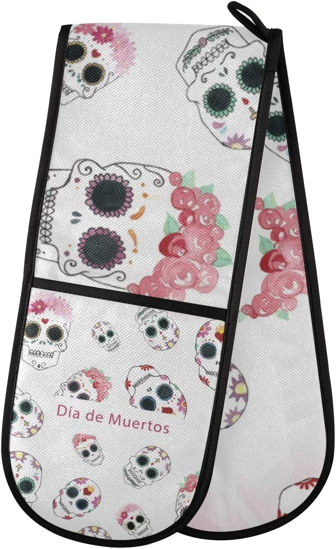 """Sinestour Quilted Double Oven Mitt Glove - Dead Day Dia Muertos Halloween Mexican Skull Oven Mits 35""""x7"""" Cooking Gloves Heat Resistant Kitchen Accessories for Baking, Grilling"""