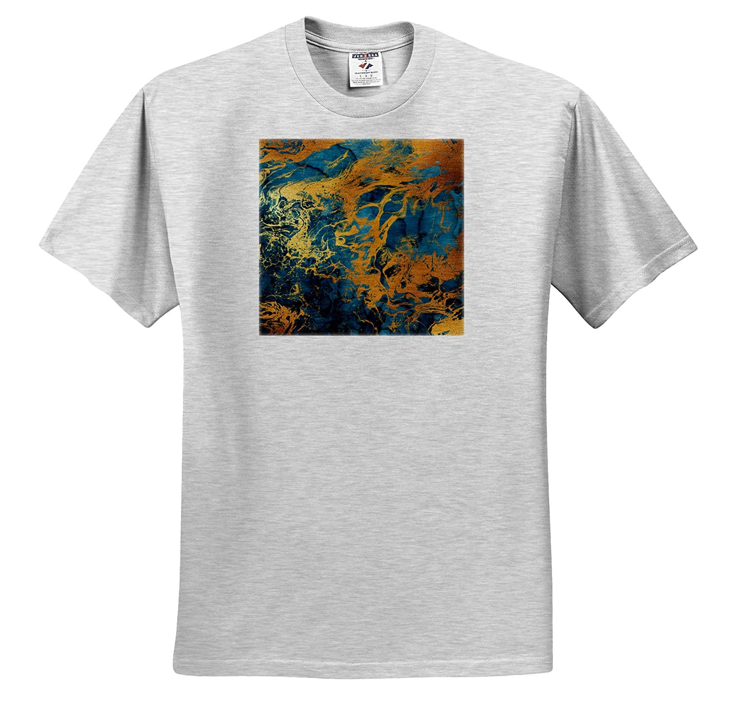 Abstract 3dRose Anne Marie Baugh T-Shirts Blue Image of Watercolor and Gold Color Abstract Wash Effect