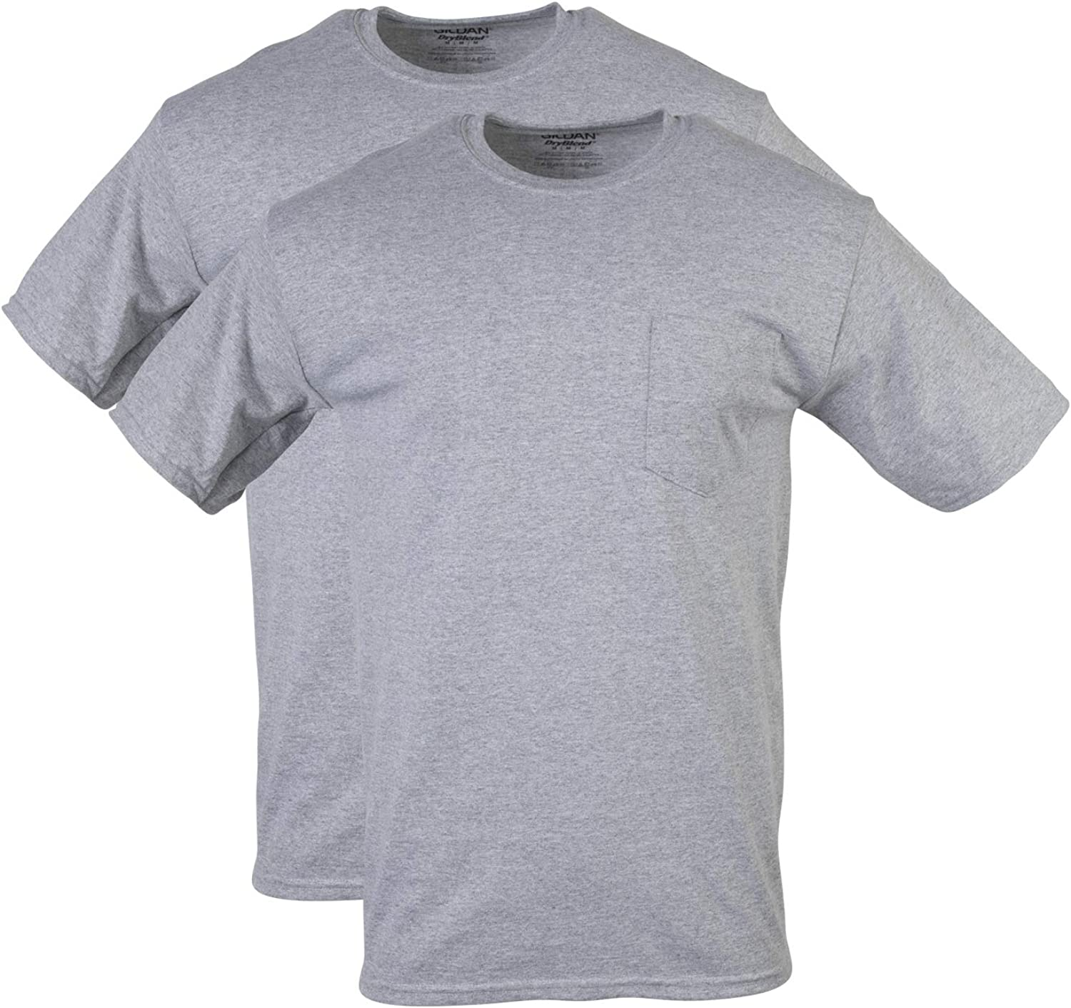 GILDAN Mens DryBlend Workwear T-Shirts with Pocket 2-Pack T-Shirt