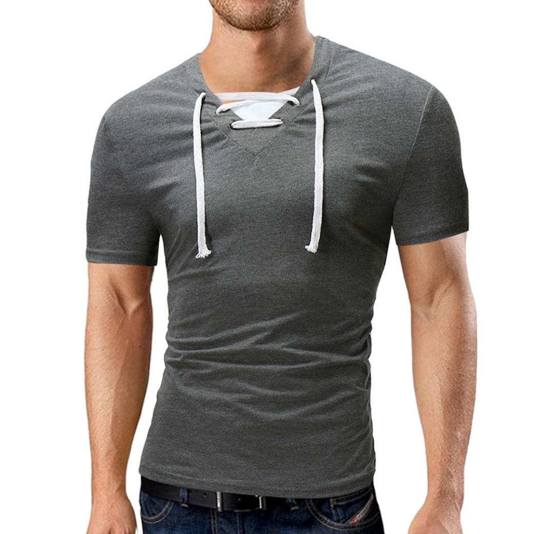 Cinnamou Mode Hommes D'été Décontracté V Cou Solid Bandage T-Shirt à Manches Courtes Sport T Shirt Top Blouse