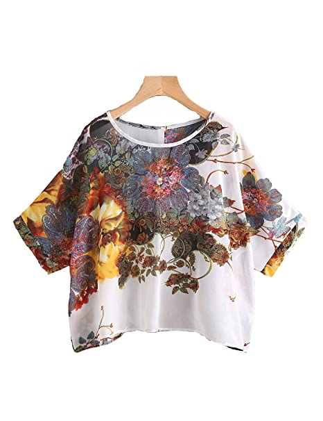 6a8ab0b7b20 Verochic Women s Classical Floral Batwing Sleeve Button Back Satin Blouse at  Amazon Women s Clothing store