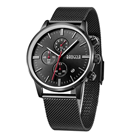 Amazon.com: Baogela Mens Black Dial Military Stainless Steel Chronograph Quartz Wrist Watch\: Health & Personal Care