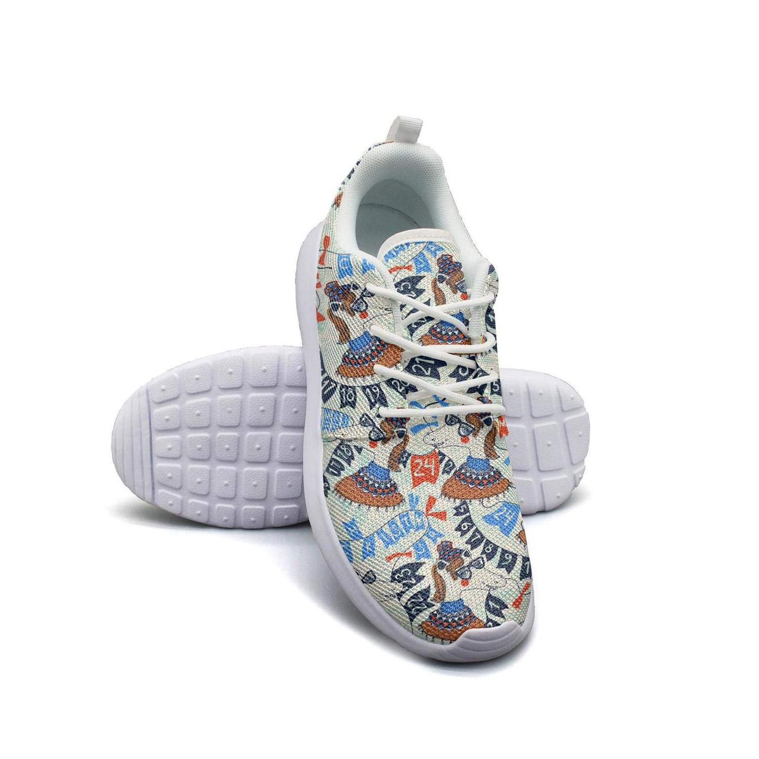 LOKIJM Merry Christmas Horse with Glasses Digital White Gym Shoes for Women News Wear-Resistant Running Shoes