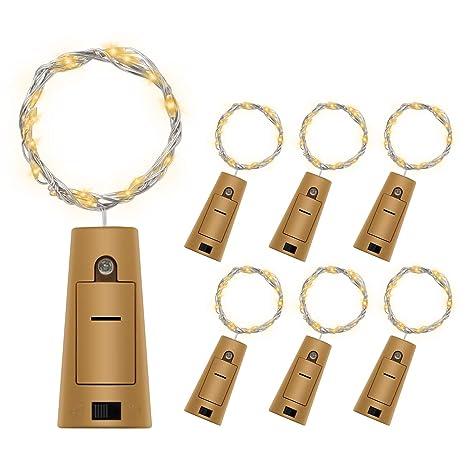 6 PCS Luz de Botella,BizoeRade Juego de botellas de vino blanco cálido Cork Lights