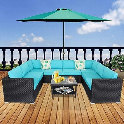 Amazon.com : JETIME Patio Furniture 9pcs Patio Sofa Black ...