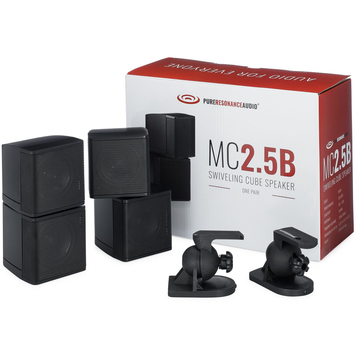 Pure Resonance Audio MC2.5B - Mini Cube Speaker Dual 2.5'' Swivel Surround Sound (Pair, Black) by Pure Resonance Audio