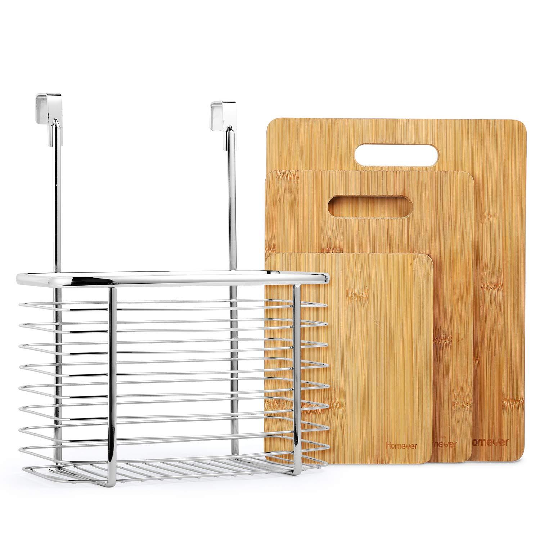 Homever Tagliere, Set di Tagliere in bambù a 3 Pezzi Plus Cestello Appeso