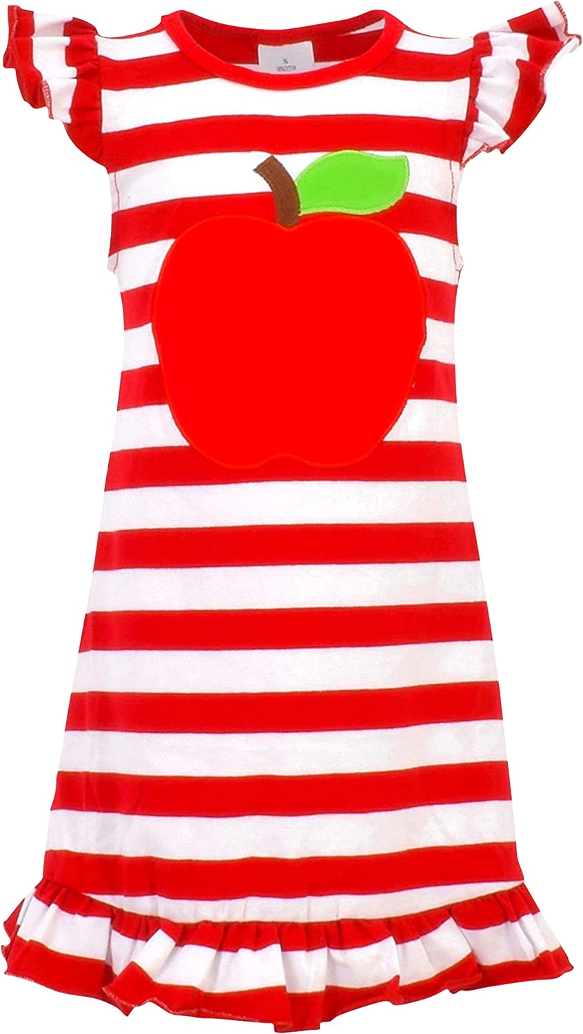 Unique Baby Girls Back to School Apple Shirt Dress