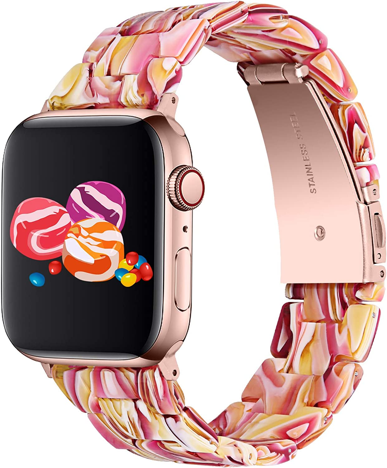 Apple Watch Bands,Fashion Resin iWatch Bands Bracelet Compatible with Stainless Steel Buckle for 40mm 38mm 44mm 42mm Apple Watch Series 6 / SE / 5/4, Series 3 2 1 (Facebook Red, 38mm/40mm)