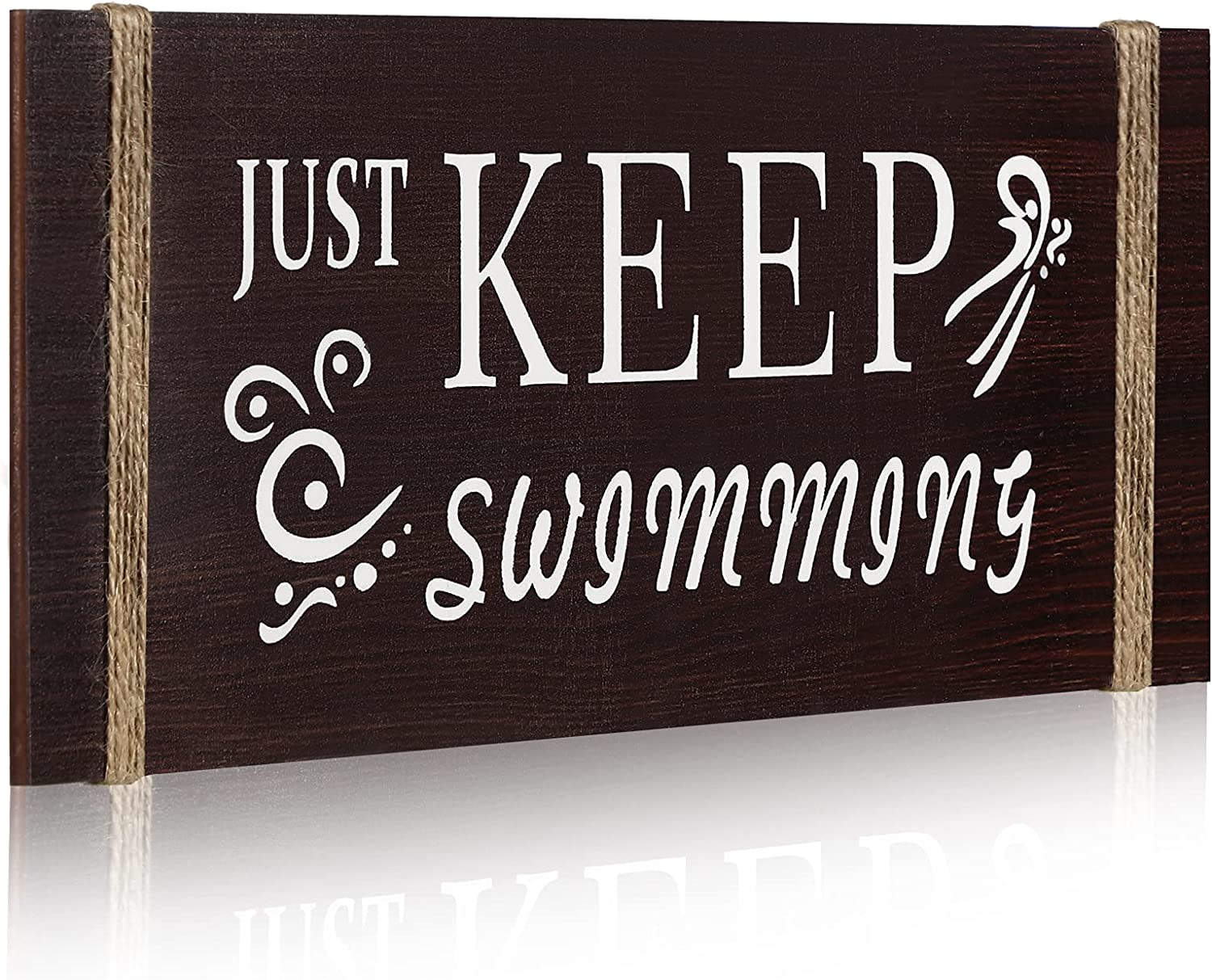 Just Keep swimming Wood Sign Rustic Wood Inspirational Wall Decor Rustic Wood Wall Sign Decoration Wooden Wall Art Sign for Bedroom, Wall Decor for Living Room Kitchen