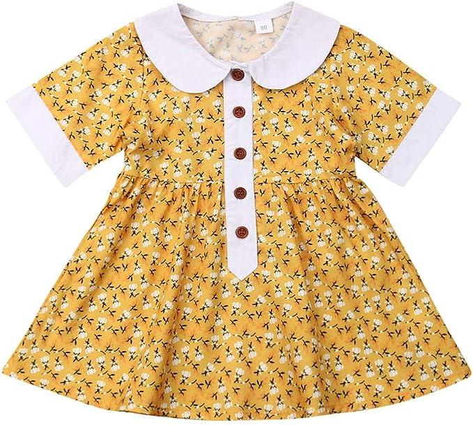 1940s Children's Clothing: Girls, Boys, Baby, Toddler Sejardin 1-6 Years Baby Girl Floral Dress Doll Collar Short Sleeve Princess Mini Dress $10.99 AT vintagedancer.com