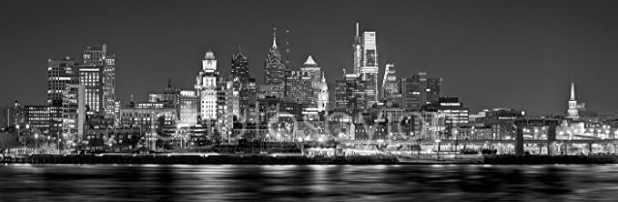 Philadelphia Skyline 2018 Photo Print Unframed Night From East Black White Bw Philly City Downtown 11 75 Inches X 36 Inches Photographic Panorama Print Photo Picture Standard Size Photosbyjon Philly Posters