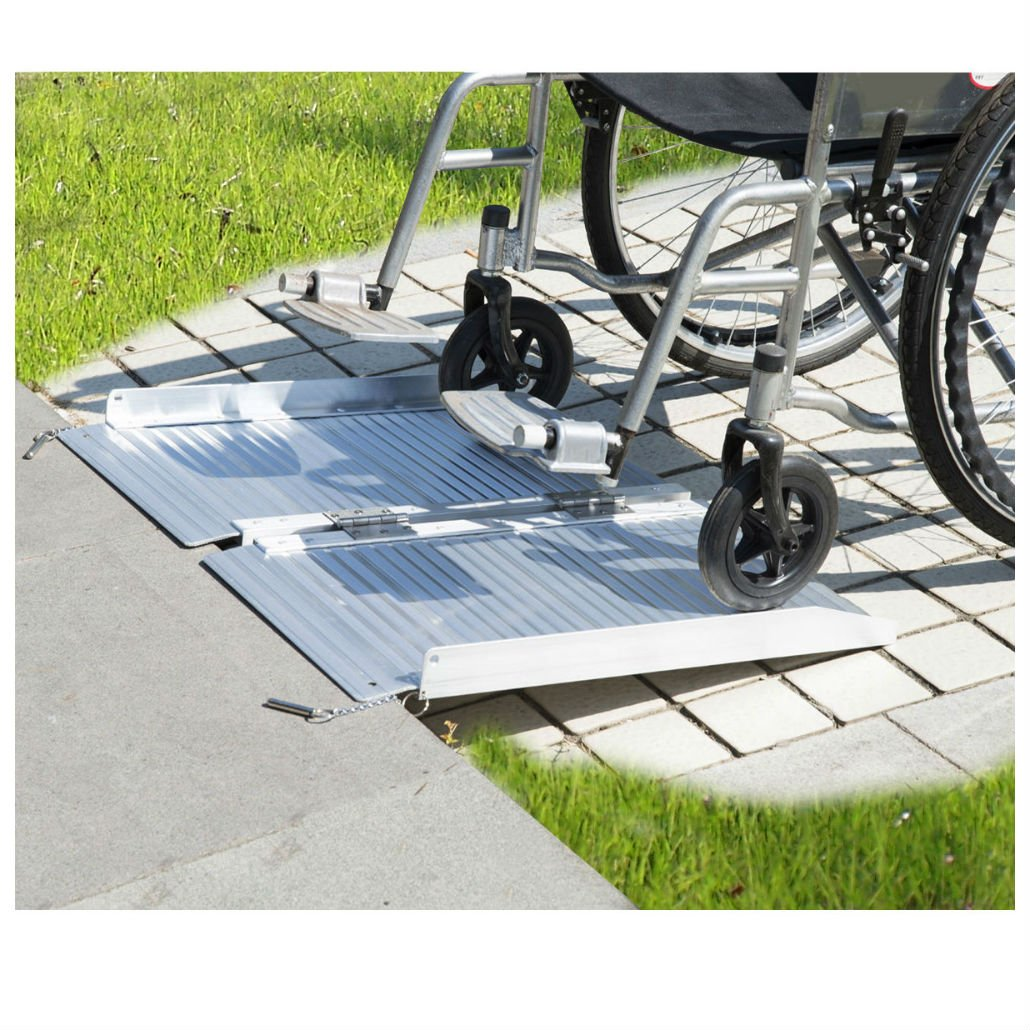 2' Aluminum Fold Portable Wheelchair Ramp Mobility Handicap Suitcase Threshold