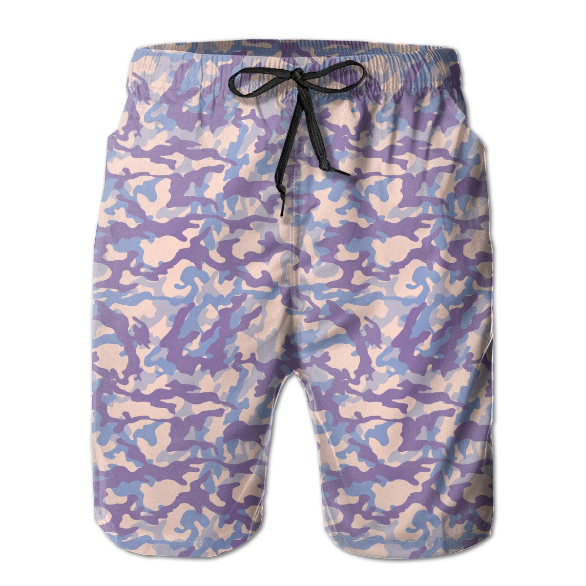 Fashion Swim Trunks Mens Board Shorts Salmon Fashionable Camouflage Purple Quick Dry Shorts