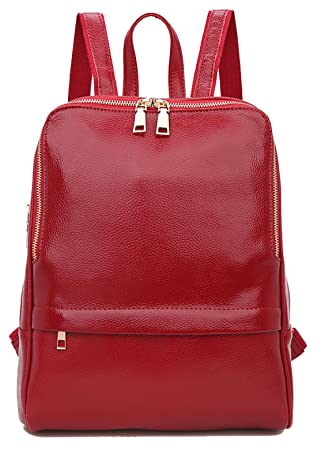 0ef29a499a5 Amazon.com   Coolcy Hot Style Women Real Genuine Leather Backpack Fashion  Bag (Wine)   Casual Daypacks