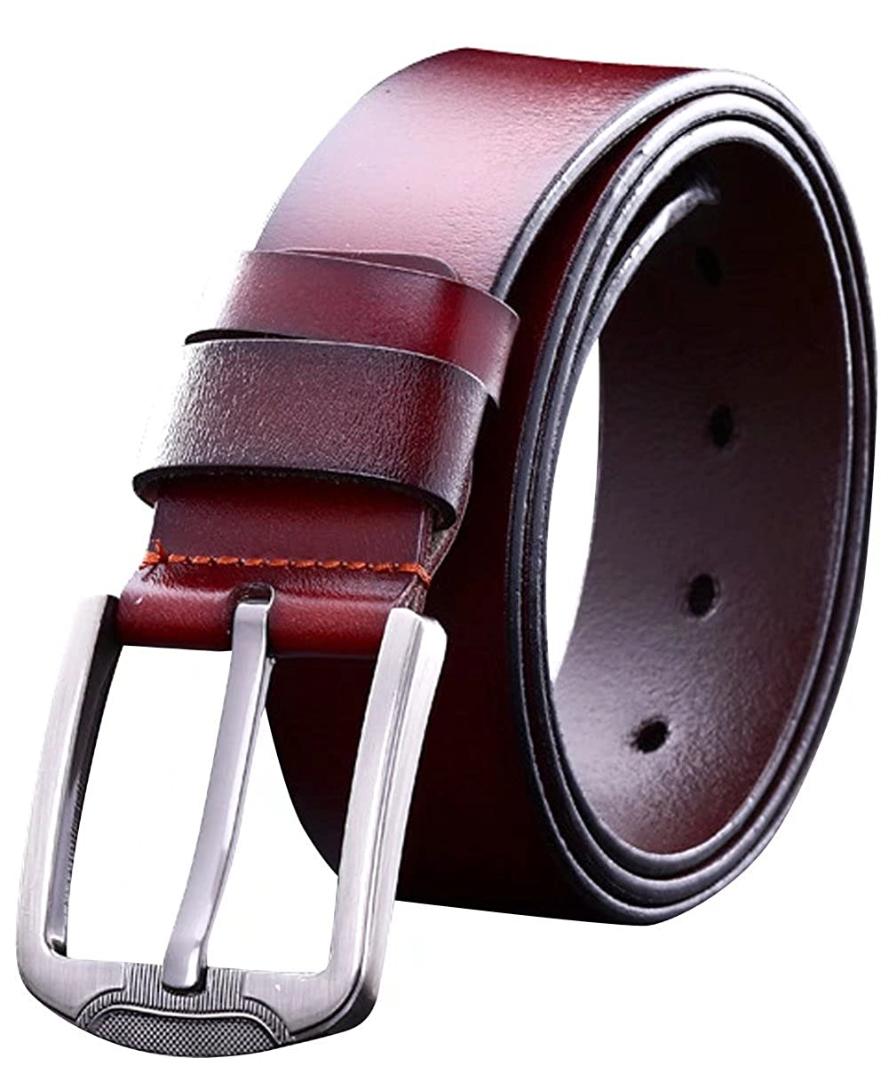 71322f1008b8 Smooth-brown Men's Pin Buckle Cow Genuine Leather Belts Fancy ...
