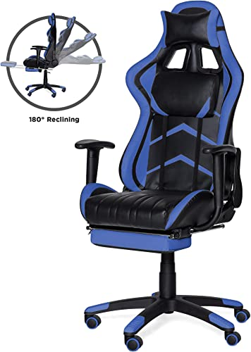 Best Choice Products Ergonomic Swivel Reclining Office Racing Gaming Chair w Footrest