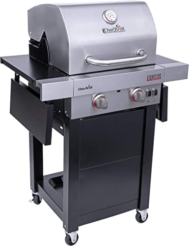 Char-Broil 463632320 Signature TRU-Infrared 2-Burner Cart Style Gas Grill, Stainless Black