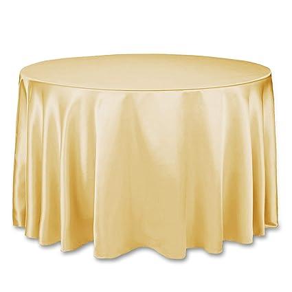 Amazon.com  LinenTablecloth 108-Inch Round Satin Tablecloth Gold ... 9c4acd0f47b1