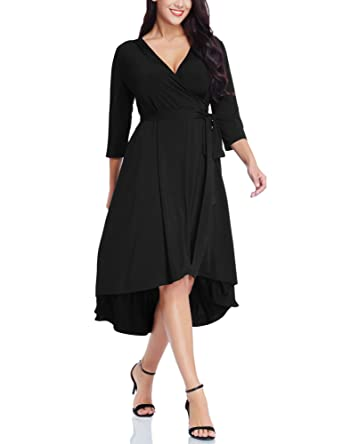 b88745486b17 black wrap dress 3 4 sleeve – Little Black Dress | Black Lace ...