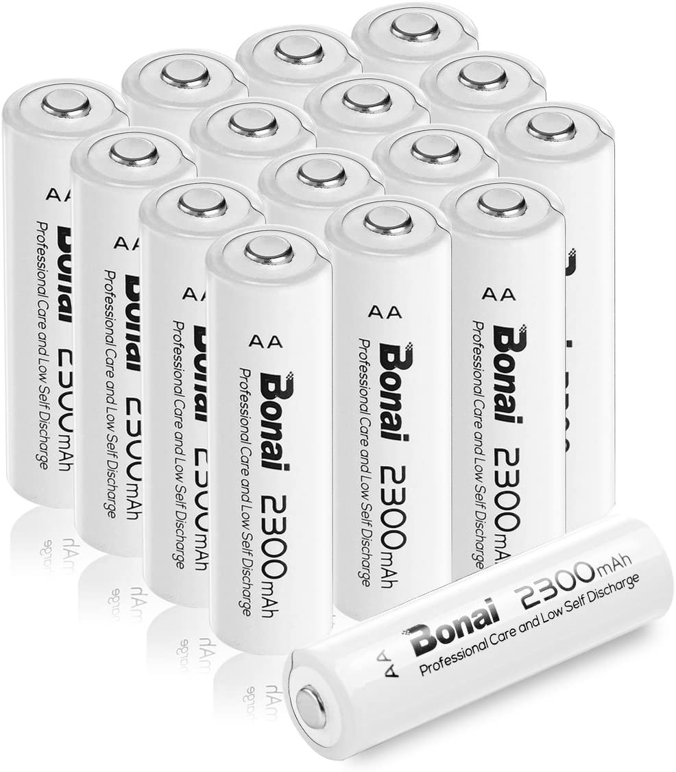 BONAI AA Rechargeable Batteries 2300mAh 1.2V Ni-MH High Capacity 16 Pack - UL Certificate