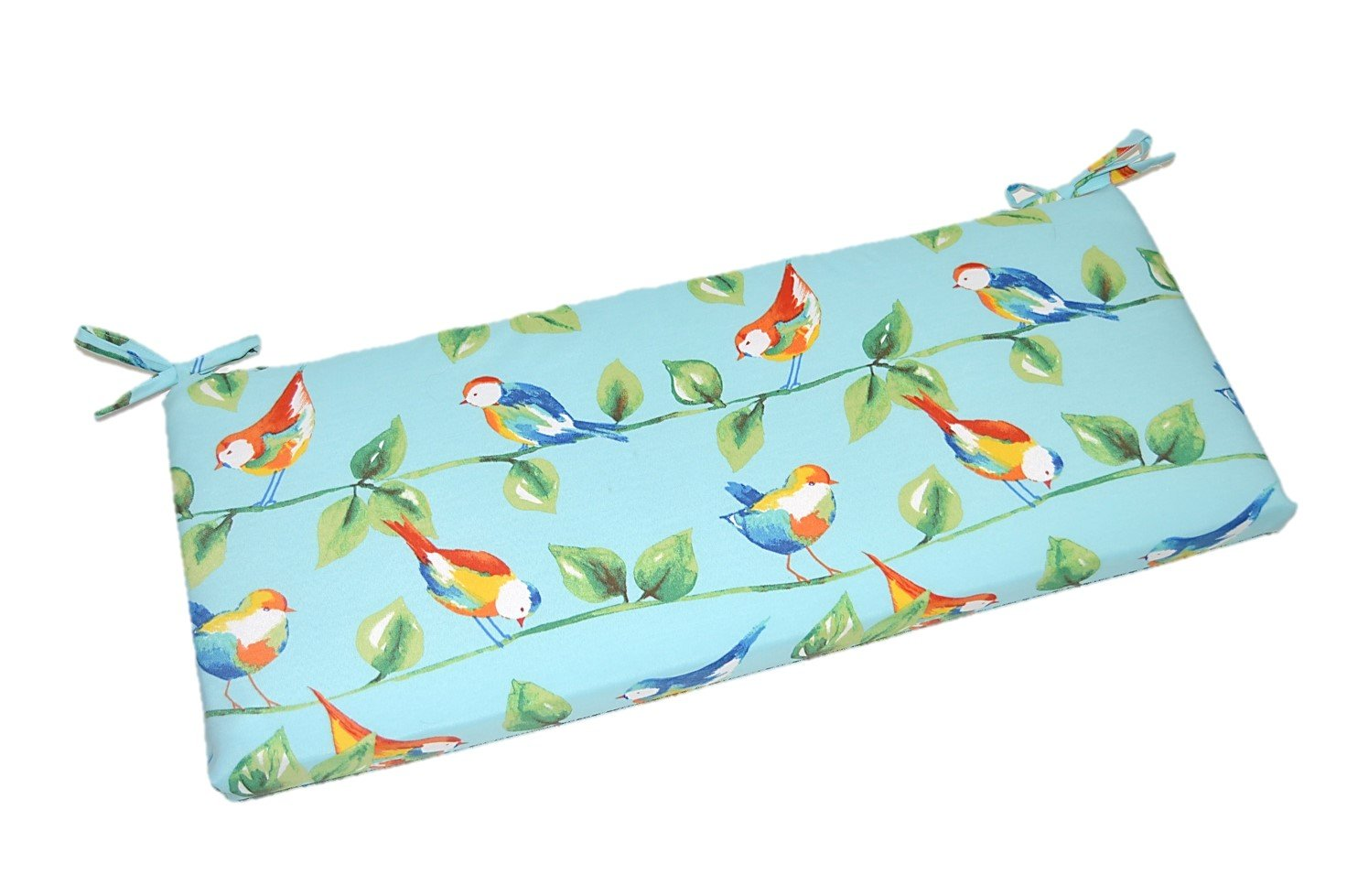 Indoor / Outdoor Richloom Solar Outdoor Sky Blue Curious Birds 2'' Thick Foam Swing / Bench / Glider Cushion with Ties and Zipper - Choose Size (41'' x 20'')
