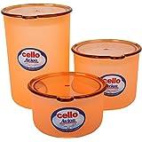 Cello Avion Plastic Container Set, 3-Pieces, Orange