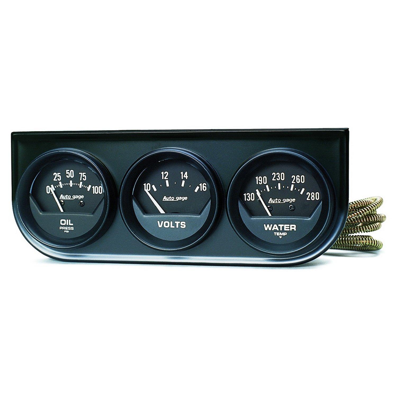 Auto Meter 2348 Auto Gage Black 2-1/16' Mechanical Three-Gauge Console