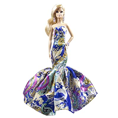 Peregrine Blue Silk Satin Strapless Damask Pattern Fit and Flare Floor Length Gown for 11.5 inches Dolls: Toys & Games