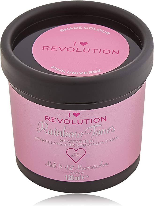 I Heart Revolution Rainbow Tones Pink Universe - Tinte semipermanente y acondicionador en uno, lavable con 8-12 lavados de cabello, vegano, ...